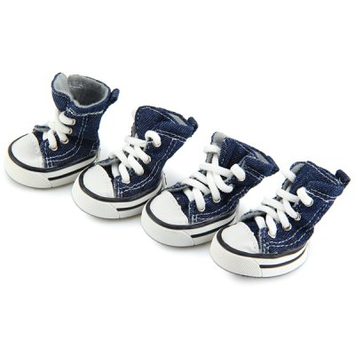Puppy Blue Denim Pet Sport Boots with 2 PairsDog Clothing &amp; Shoes<br>Puppy Blue Denim Pet Sport Boots with 2 Pairs<br><br>For: Dogs<br>Type: Shoes<br>Material: Resin<br>Functions: Adjustable<br>Season: All Seasons<br>Color: Blue<br>Product weight   : 20 g (1 shoe)<br>Package weight   : 0.13 kg<br>Package size (L x W x H)  : 22.5 x 14 x 5 cm<br>Package Contents: 4 x Pet Boot