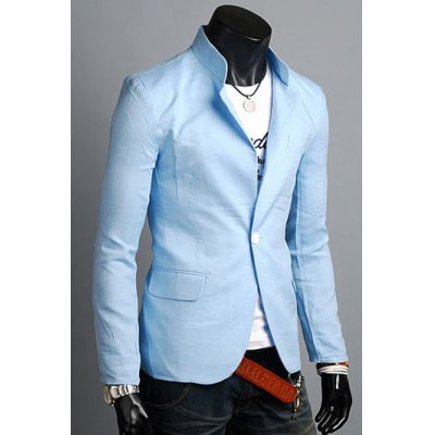 ФОТО Casual Style Turn-dowm Collar Slimming Color Block Stripes Cuffs Design Long Sleeves Men