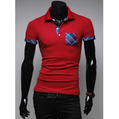 Гаджет   Casual Style Turn-down Collar Fashion Checked Personality Embellished Slimming Short Sleeves Men