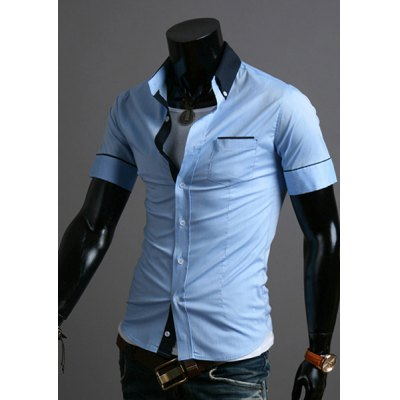Casual Style Slimming Short Sleeves Turn-down Collar Color Block Pocket Design Mens Cotton Blend ShirtMens Shirts<br>Casual Style Slimming Short Sleeves Turn-down Collar Color Block Pocket Design Mens Cotton Blend Shirt<br><br>Shirts Type: Casual Shirts<br>Material: Cotton, Polyester<br>Sleeve Length: Short<br>Collar: Turn-down Collar<br>Weight: 0.5KG<br>Package Contents: 1 x Shirt