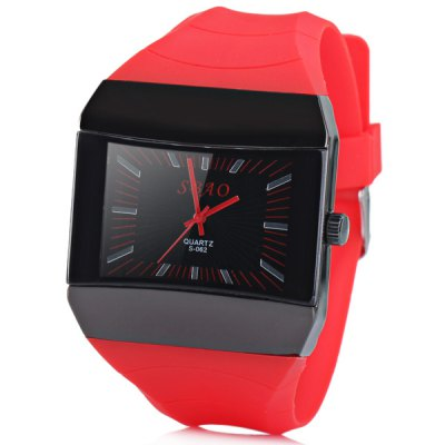 S062 Watch with Quartz Squre Dial Rubber Watchband