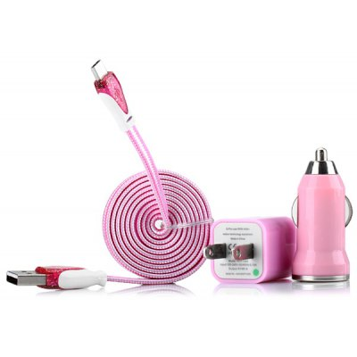 3 in 1 Kit Micro USB Stripe Design Woven Texture Flat Cable and US Standard Power Adapter and Car Charger