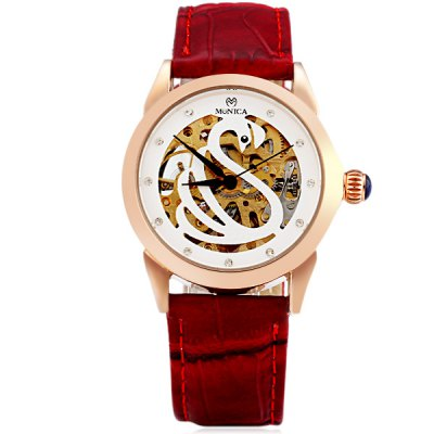 ФОТО M6808 Cool Women Automatic Mechanical Watch with Swan Design Analog Round Dial Leather Watchband