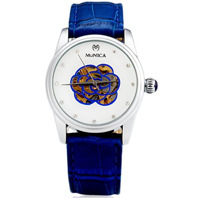 ФОТО M6801 Cool Women Automatic Mechanical Watch with Flower Design Analog Round Dial Leather Watchband