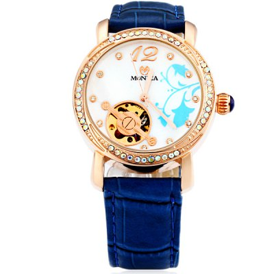 ФОТО M6813 Cool Women Automatic Mechanical Watch with Flower and Circle Design Analog Round Dial Leather Watchband