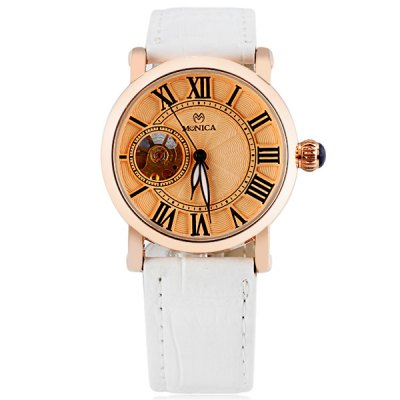 ФОТО M6803 Cool Women Automatic Mechanical Watch with Double Ring Design 11 Roman Numbers Hour Marks Design Analog Round Dial Leather Watchband