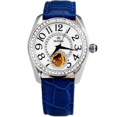 ФОТО M6810 Cool Women Automatic Mechanical Watch with Double Ring 11 Arabic Numbers Hour Marks Design Analog Round Dial Leather Watchband