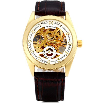 ФОТО M6827 Brand Mechanical Watch Time Displayed by 11 Arabic Numbers and Leather Watchband for Women