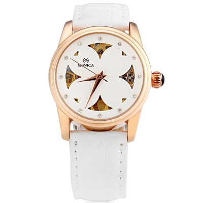 ФОТО M6802 Cool Women Automatic Mechanical Watch with Four Heart Design Analog Round Dial Leather Watchband