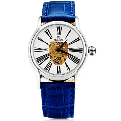 ФОТО M6806 Brand Mechanical Watch Time Displayed by 12 Roman Numbers and Leather Watchband for Women