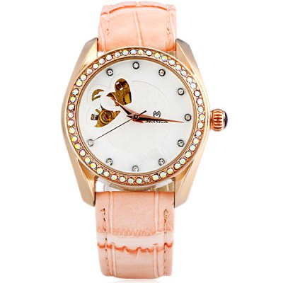 Гаджет   M6809 Cool Women Automatic Mechanical Watch with Double Heart Design Analog Round Dial Leather Watchband Women