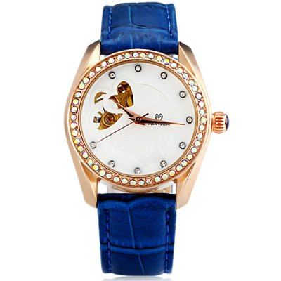 ФОТО M6809 Cool Women Automatic Mechanical Watch with Double Heart Design Analog Round Dial Leather Watchband