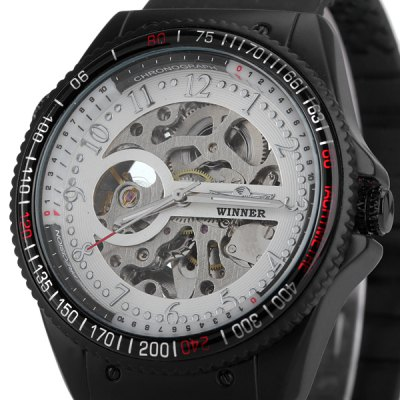 ФОТО Winner Unique Men Mechanical Watch with Analog Round Dial Rubber Watchband