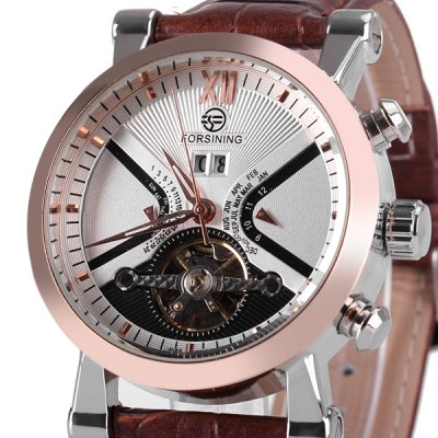 ФОТО Fashionable Men Mechanical Watch with Analog Round Dial Leather Watchband