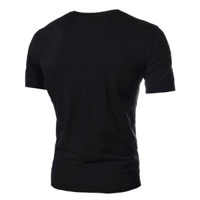 Гаджет   Simple Style Solid Color Slimming V-Neck Button Personality Embellished Short Sleeves Men
