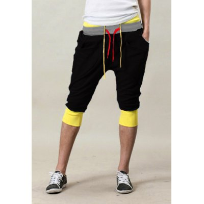 ФОТО Trendy Double Color Block Waist Lace-Up Slimming Personality Pocket Embellished Color Splicing Narrow Feet Men
