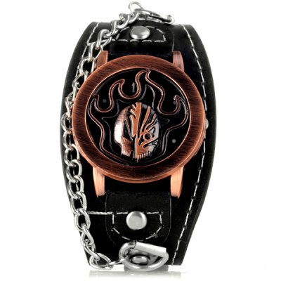 Гаджет   Cool Men Watch Analog Display with Fire Pattern Round Dial Leather Watch Band Men