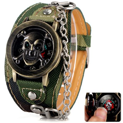 Cool Men Watch Analog Display with Flip Skull Head Round Dial Leather Watch Band