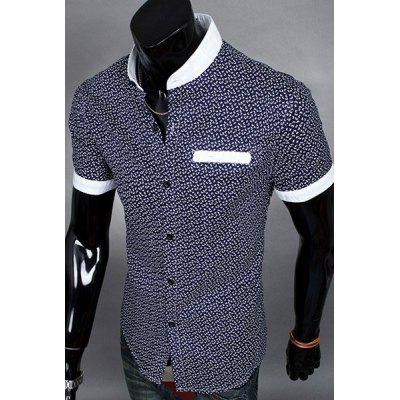 Гаджет   Chinese Style Stand Collar Color Splicing Slimming Personality Print Short Sleeves Men