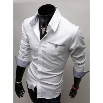 Гаджет   Fashion Style Turn-down Collar Personality Pocket Embellished Long Sleeves Men