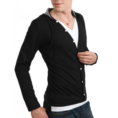 Гаджет   Fashion Style Hooded Slimming Multi-Button Embellished Long Sleeves Men