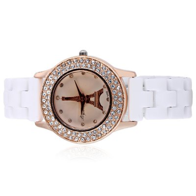 ФОТО Fashional Ceramic Watch Band Women Quartz Watch with Tower Pattern