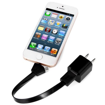 20 cm 2 in1  8 Pin and Micro USB Interface Flat Cable with US Standard Power Adapter for iPhone 5 5S 5C / Samsung / HTC / etc