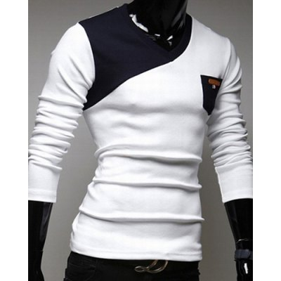 Гаджет   Stylish V-Neck Classic Color Block Splicing Slimming Long Sleeves Men