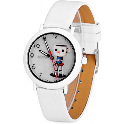 Great Xmas Gift Unique Children Watch Analog with Mark Cup Pattern Round Dial Leather Watch Band
