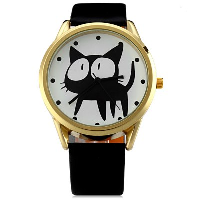 ФОТО JUBAOLI 2108 Fashionable Watch Time Showed by 12 Dots with Cat Pattern Circular Dial Artificial Leather Watchband