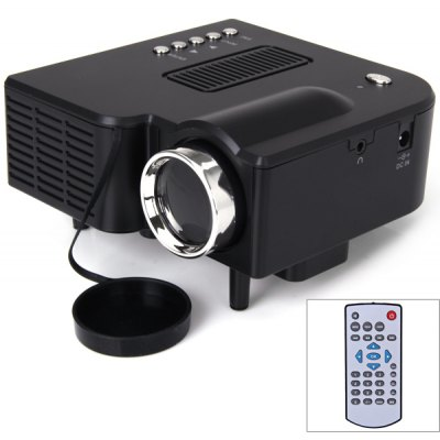 UC28+ Mini Portable LED Projector 48 Lumens 320 x 240 Native Resolution 16:9 Aspect Ratio Supports HDMI/USB/VGA/IR/SD Card