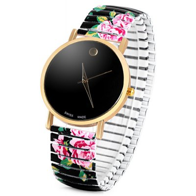 Simply Round Dial Swiss Quartz Women Watch Analog with Elastic Watch Band