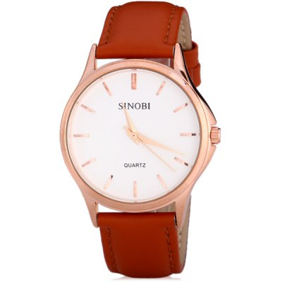ФОТО SINOBI 8102 Watch Time Showed by Strips with Circular Dial Artificial Leather Watchband
