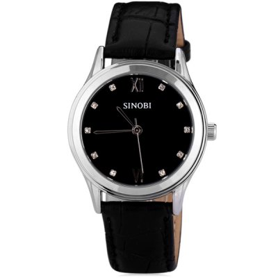 ФОТО SINOBI 8100 Watch Time Showed by 2 Roman Numbers and Dots with Circular Dial Artificial Leather Watchband