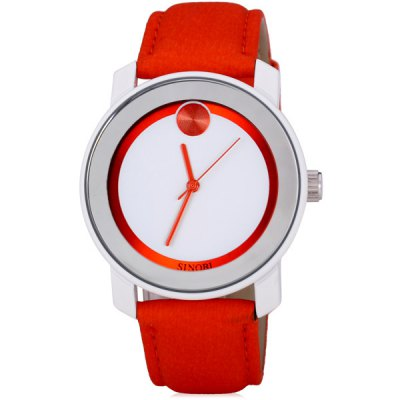 ФОТО SINOBI 8109 Fashionable Watch with One Dot Pattern Circular Dial Artificial Leather Watchband