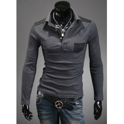 Slimming Trendy Turn-down Collar Color Splicing Pocket Embellished Long Sleeves Mens Cotton Blend Polo T-ShirtMens Long Sleeves Tees<br>Slimming Trendy Turn-down Collar Color Splicing Pocket Embellished Long Sleeves Mens Cotton Blend Polo T-Shirt<br><br>Material: Polyester, Cotton<br>Sleeve Length: Full<br>Collar: Turn-down Collar<br>Style: Casual<br>Weight: 0.5KG<br>Package Contents: 1 x Polo T-Shirt<br>Embellishment: Pockets<br>Pattern Type: Patchwork