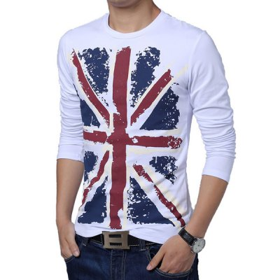 Slimming Trendy Hit Color Flag Print Round Neck Long Sleeves Men