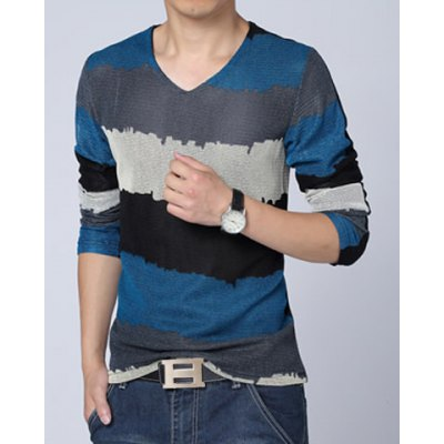 ФОТО Fashion Style V-Neck Slimming Color Splicing Mesh Legging Design Long Sleeves Men