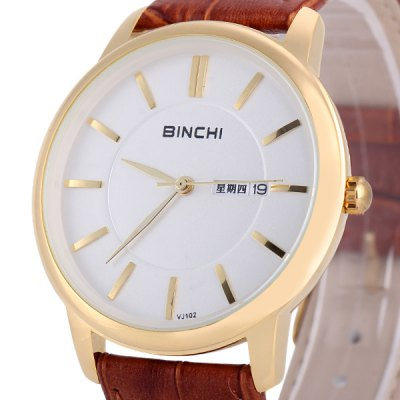 Гаджет   Binchi VJ102 Fashionable Male Watch Time Showed by 12 Bar Scales with Round Dial Genuine Leather Watchband Men