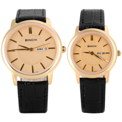 Binchi VJ102 Fashionable Lovers Watch Time Showed by 12 Bar Scales with Round Dial Genuine Leather WatchbandCouples Watches<br>Binchi VJ102 Fashionable Lovers Watch Time Showed by 12 Bar Scales with Round Dial Genuine Leather Watchband<br><br>Brand: Binchi<br>Watches categories: Couple tables<br>Watch style: Fashion<br>Color: Brown<br>Shape of the dial: Round<br>Movement type: Quartz watch<br>Display type: Pointer<br>Case material: Stainless steel<br>Band material: Genuine leather<br>Clasp type: Pin buckle<br>Special features: Week, Three needle<br>The male dial dimension (L x W x H): 4.0 x 4.0 x 0.7 cm / 1.6 x 1.6 x 0.3 inches<br>The male watch band dimension (L x W): 24.5 x 1.8 cm / 9.6 x 0.7 inches<br>The male watch weight: 42 g<br>The male watch size (L x W x H): 24.5 x 4.3 x 0.7 cm / 9.6 x 1.7 x 0.3 inches<br>The female dial dimension (L x W x H): 3.0 x 3.0 x 0.7 cm / 1.2 x 1.2 x 0.3 inches<br>The female watch band dimension (L x W): 23.5 x 1.5 cm / 9.3 x 0.6 inches<br>The female watch weight: 29 g<br>The female size (L x W x H): 23.5 x 3.3 x 0.7 cm / 9.3 x 1.3 x 0.3 inches<br>Package contents: 2 x Watches