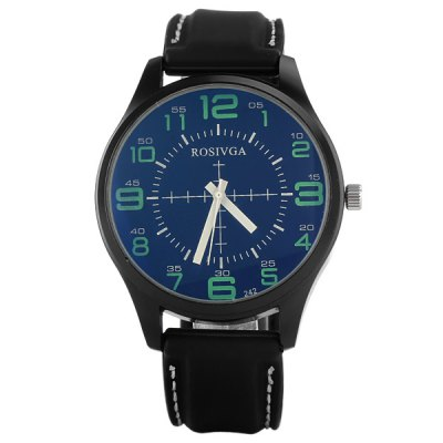 Фотография Rosivga 242 Male Watch Time Showed by  Arabic Numerals Round Dial Rubber Watchband