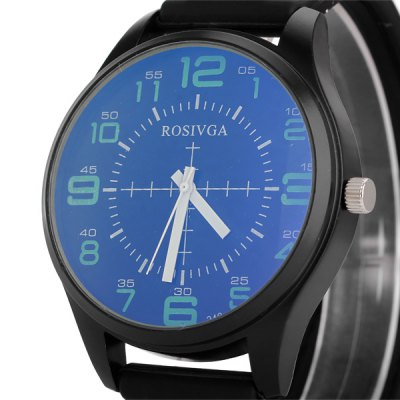 Гаджет   Rosivga 242 Male Watch Time Showed by  Arabic Numerals Round Dial Rubber Watchband Men
