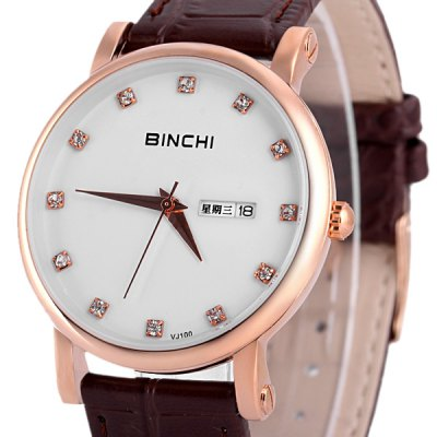 Binchi VJ100 Business Male Watch with 12 Diamond Dots Display  Round Dial Genuine Leather WatchbandMens Watches<br>Binchi VJ100 Business Male Watch with 12 Diamond Dots Display  Round Dial Genuine Leather Watchband<br><br>Brand: Binchi<br>Watches categories: Male table<br>Watch style: Fashion<br>Available color: Black, Brown<br>Movement type: Quartz watch<br>Shape of the dial: Round<br>Display type: Pointer<br>Case material: Stainless steel<br>Case color: Gold<br>Band material: Genuine leather<br>Clasp type: Pin buckle<br>Special features: Date, Three needles, Week<br>Waterproof: Life waterproof<br>The dial thickness: 0.7 cm / 0.3 inch<br>The dial diameter: 4.0 cm / 1.6 inch<br>The band width: 1.8 cm / 0.7 inch<br>Product weight: 42 g<br>Product size (L x W x H): 24.5 x 4.3 x 0.7 cm / 9.6 x 1.7 x 0.3 inches<br>Package Contents: 1 x Watch