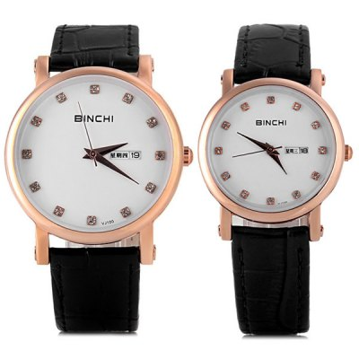 Binchi VJ104 Quartz Watch with 12 Diamond Dots Dispaly Round Dial and Genuine Leather Watchband for Lovers