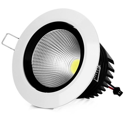WBR-0011-2 COB 680 - 750LM 7W 85 - 265V Deep Cup LED White Shell Downlight with Warm White Light