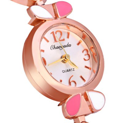 Гаджет   Female Quartz Watch with Diamonds and Leaves Style Round Dial Stainless Watchband Women