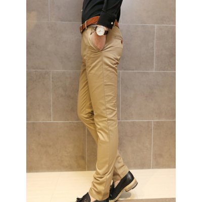 Гаджет   Simple Style Zipper Fly Button Embellished Solid Color Slimming Straight Leg Men
