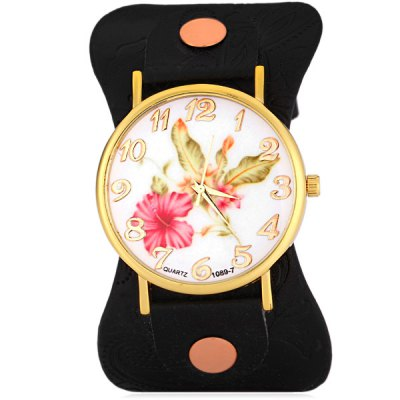ФОТО 1089  -  7 Fashionable Watch Time Showed by 12 Arabic Numbers with Flower Pattern Round Dial Artificial Leather Watchband