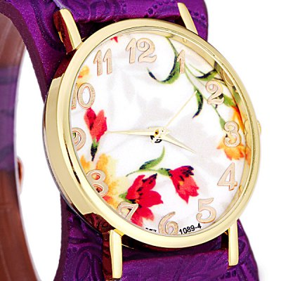 Фотография 1089  -  4 Fashionable Watch Time Showed by 12 Arabic Numbers with Flower Pattern Round Dial Artificial Leather Watchband