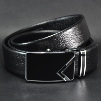 Hot Sale Triangle Pattern Automatic Alloy Buckle Faux Leather Belt For Men